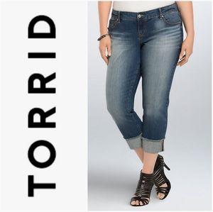 TORRID Cropped Boyfriend Jeans Medium Wash